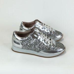 KATE SPADE Silver New York Glitter Low-Top sneaker